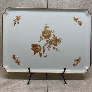 Exclusivite Chamart Limoges France gold roses tray